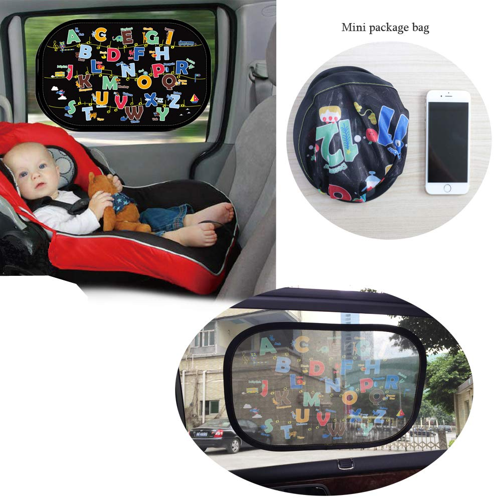 Sun Glare and UV Rays Protection for Your Child Translucent Sun Visor Including Bag B 2 Pack Eternall Car Window Shades Stick with Static,