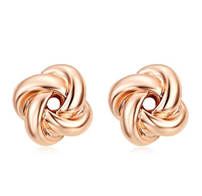 Amazoncom Womens Love Knot Stud Earrings 18K Rose Gold Twisted Ear