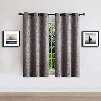 warm home designs 1 pair 2 panels of silver gray insulated thermal blackout curtains with embossed textured damask flower pattern each short length