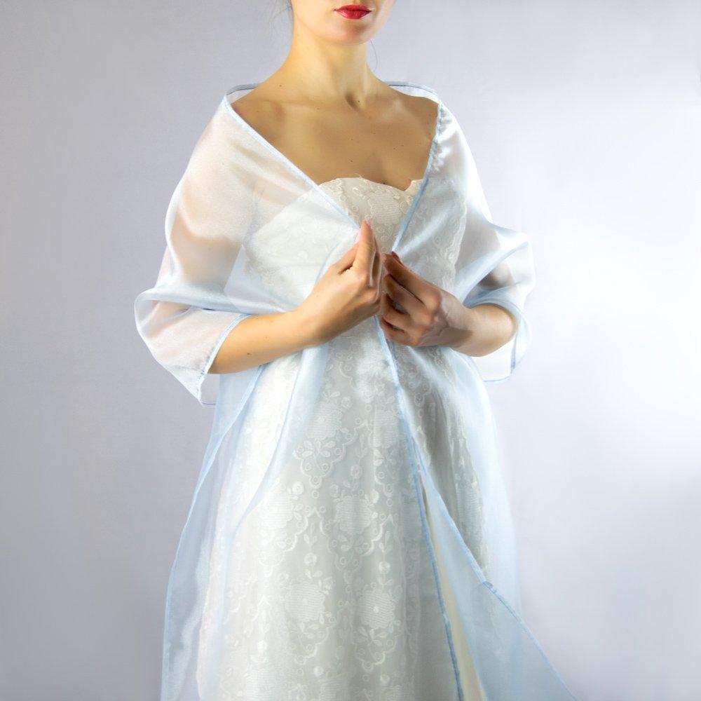 Chal organza color azul novia boda novia para vestido de fiesta azul claro: Amazon.es: Handmade