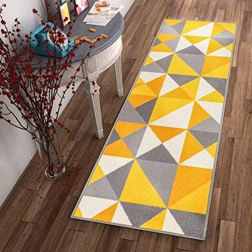 - Non-Skid/Slip Rubber Back Antibacterial 2x7 (2' x 7' Runner) Rug Lex Casual Yellow Gold & Grey Geometric Modern Thin Low Pile Machine Washable Indoor Outdoor Kitchen Hallway Entry