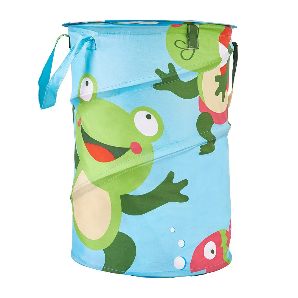 AaniNMe Laundry Hamper – Kids Storage Basket Organizer Bin for Nursery and Play Room (FroggyOnRescue)