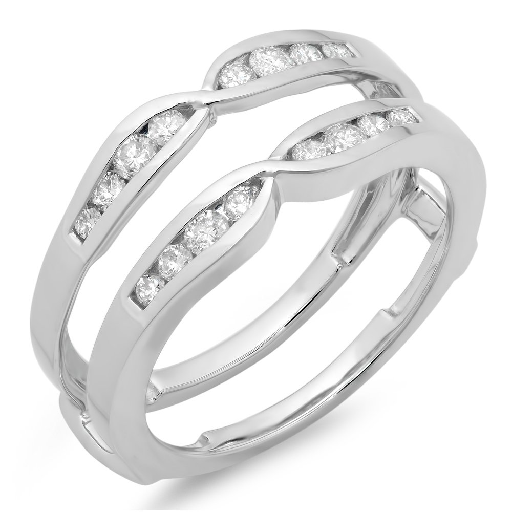 Dazzlingrock Collection 0.42 Carat (ctw) 14K Round Diamond Ladies Wedding Enhancer Guard Double Ring, White Gold, Size 7 by Dazzlingrock Collection