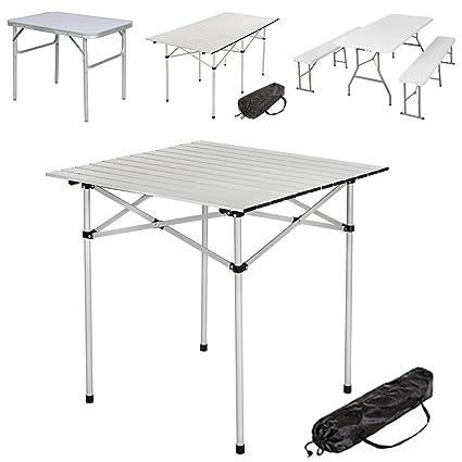 TecTake Mesa Plegable de Aluminio portátil Camping terraza jardín Mesa Multifuncional - Varios Modelos -