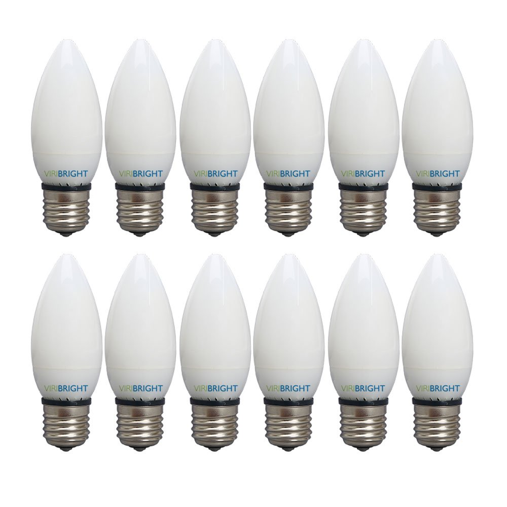 12 Piece Pack of 12 Cool White 4000K B10 Light Bulbs 300 Degree Beam Angle Dimmable for Home 40W Equivalent 300lm Viribright 753638 3.2 Watt LED Candle E26 Base