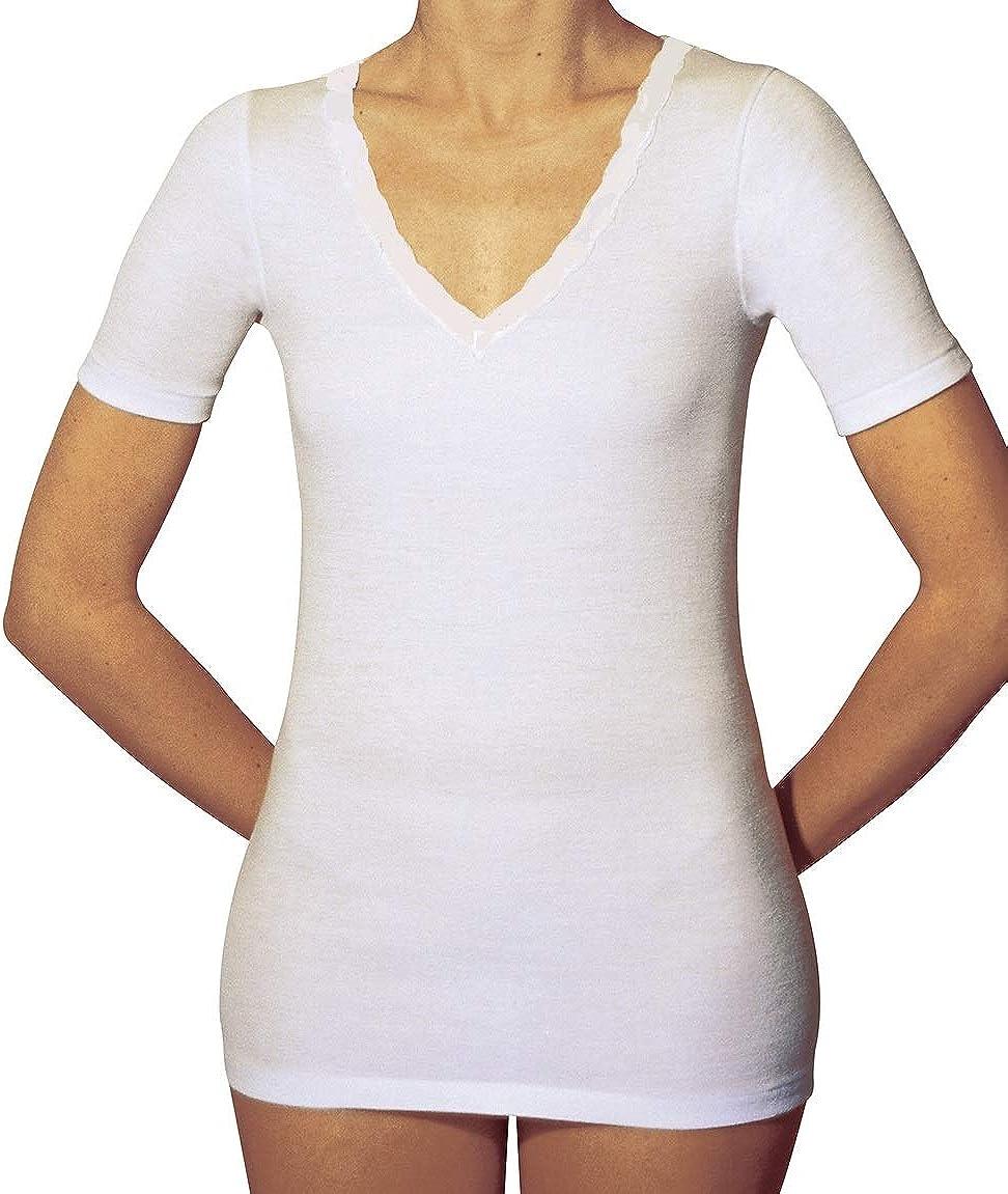 Maglietta Termica Mezza Manica Scollo a V Intimo Donna Cotone Filo di Scozia MANIFATTURA BERNINA Velan 60201