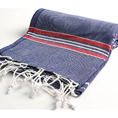 Cacala 100% Cotton Pestemal Turkish Striped Bath Towel, 37 x 70 , Dark Blue/Red