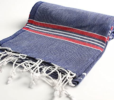 Paradise Series Turkish Bath Towels – Traditional Peshtemal Design for Bathrooms, Beach, Sauna – 100% Natural Cotton, Ultra-Soft, Fast-Drying, Absorbent – Warm, Rich Colors with Stripes Dark - Blue Color Cotton