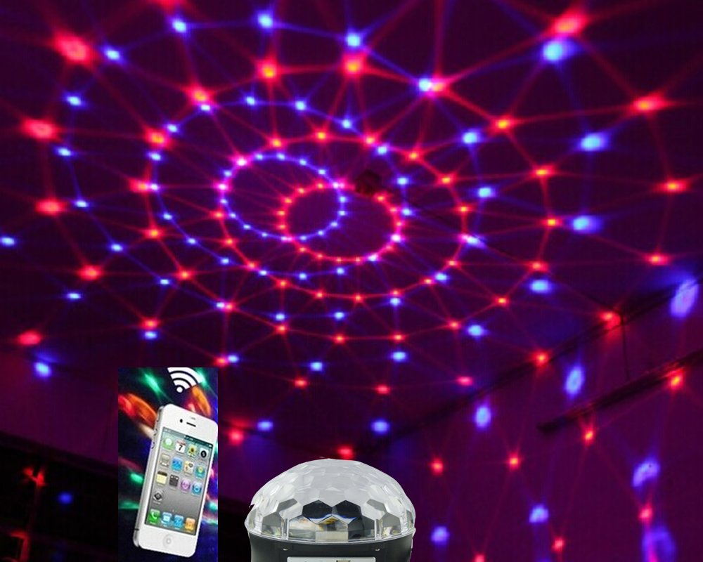 Glovion (Bluetooth Version) Disco Dj Stage Lighting LED RGB Crystal Magic Ball Light KTV Christmas Party with Bluetooth/ Mp3 Loudspeaker and Remote Controller