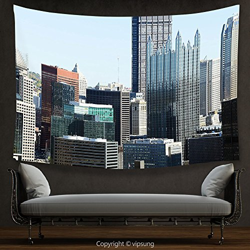 House Decor Tapestry USA American Architecture Pittsburgh PA Skyline Pennsylvania Modern Cityscape Grey Silver Light Blue Wall Hanging for Bedroom Living Room Dorm (Halloween Parade New Hope Pa)