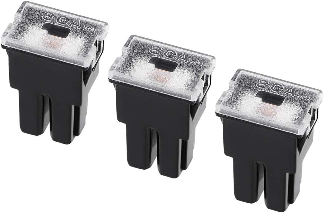 uxcell Automotive Mini Cartridge Fuse 32V 80A Female Terminal J Case Box for Car Truck Vehicle 3pcs