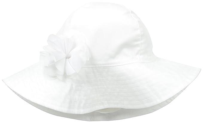Amazon.com  Carters Baby Girls  Newborn Sun Hat with Poplin Flower ... f5ed0ef1f7a0