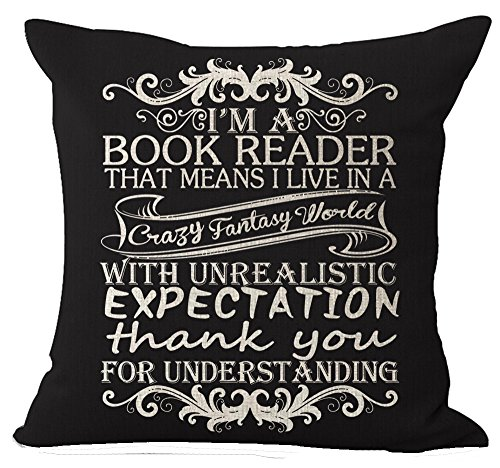 Andreannie Book Lover Book Club Librarian Reading Beige Ivory Letters Im A Book Reader in Black Cotton Linen Throw Pillow Case Cushion Cover New Home Office Indoor Decorative Square 18 X 18 Inches