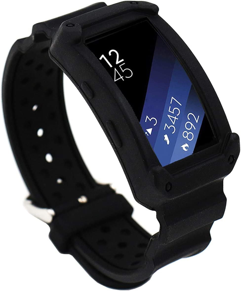 EL-move Samsung Gear Fit 2 SM-R360 Band, Silicone Replacement Frame Rugged Protective Case Wristband Sport Bands for amsung Gear Fit2 & Fit2 Pro ...