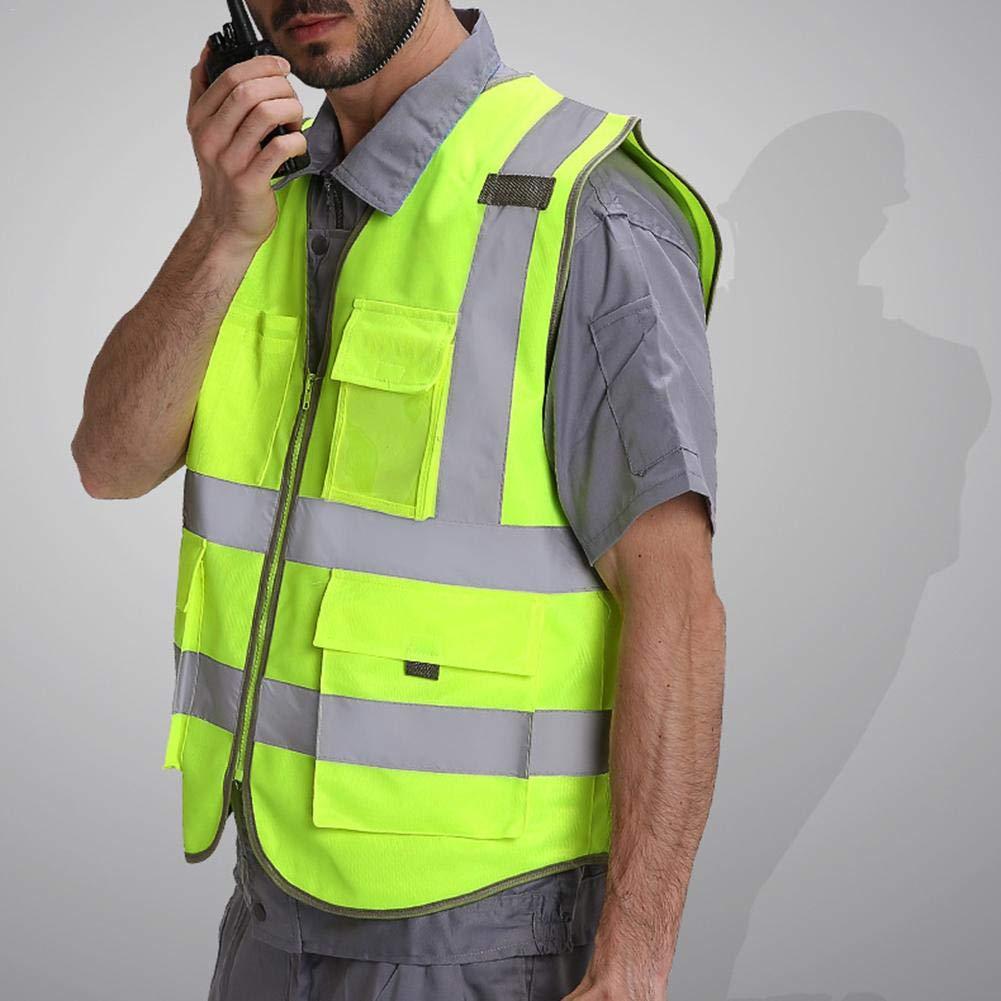 Control De Tr/áfico Construcci/ón En El Lugar De Trabajo Senderismo Carvevt Chaleco De Seguridad De Alta Visibilidad Ajustable Reflectante con Cremallera Chaqueta Ropa Fluorescente para Ciclismo