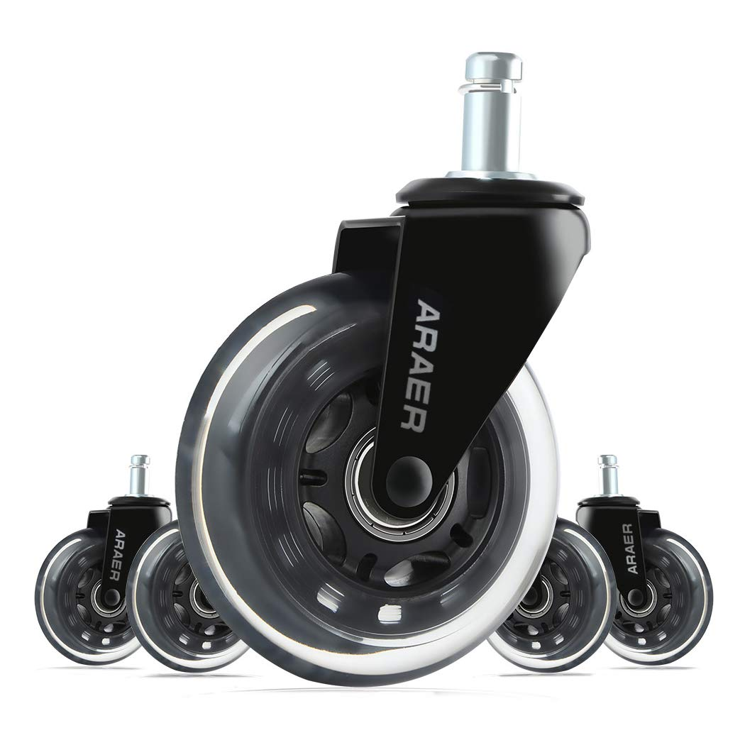 Office Chair Casters Wheels-Set of 5, Standard Size-11mm(7/16), 3'' Heavy Duty and Safe for All Floors: Hardwood, Carpets, Tile, Vinyl, Great Replacement for Desk Floor Chair Mats, Rollerblade Style