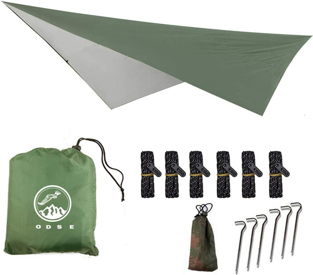 ODSE 10×10 Feet Rain Fly Hammock Tent Tarp for 2000PU Waterproof Protection – Large Canopy is Portable and Provides Ideal Shelter for Your Camping Hammock or Tent Army Green
