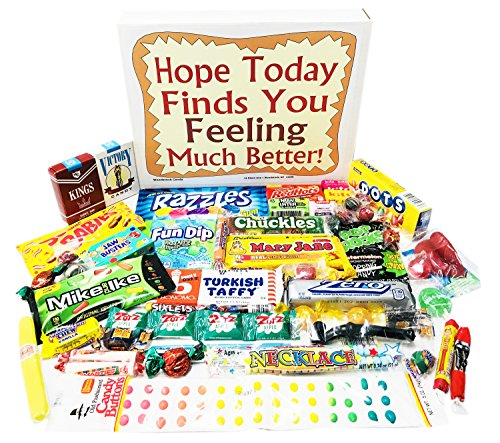 Woodstock Candy Feel Better Soon Care Package for Kids Men or Women - Get Well Gift Box of Retro Nostalgic Candy - Feel Better Gift