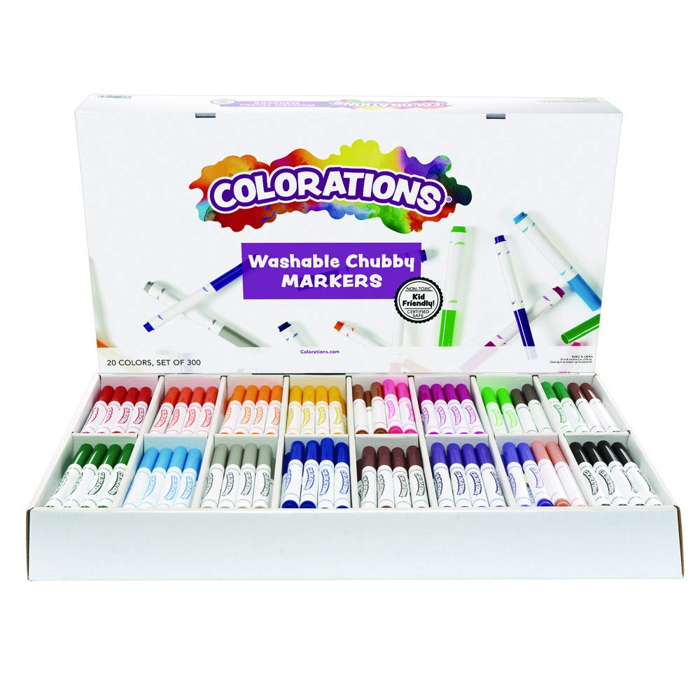 Colorations Chubby Markers, Conical Tip,Set of 300, 20 Bold Colors, Coloring, Paper, Kids, Posters, Drawing, Bold Colors, Classroom, School Supplies, Art Supplies, Craft Projects by Colorations