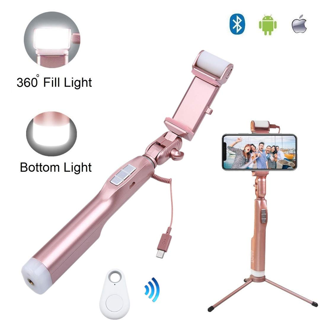 didaINT Bluetooth Wireless Remote Selfie Stick, Aluminum Alloy Metal Tripod with 2 LED Fill Light and Mirror, 360° Rotation Phone Holder for iPhone X/8/7/7Plus/6Plus/6s, Galaxy S9/S8/S8Plus/S7, More
