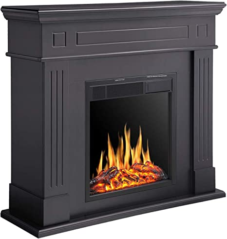 R W Flame Electric Fireplace Mantel Wooden Surround Firebox Freestanding Corner Fireplace Home Space Heather Adjustable Led Flame Remote Control 750w 1500w Black Kitchen Dining