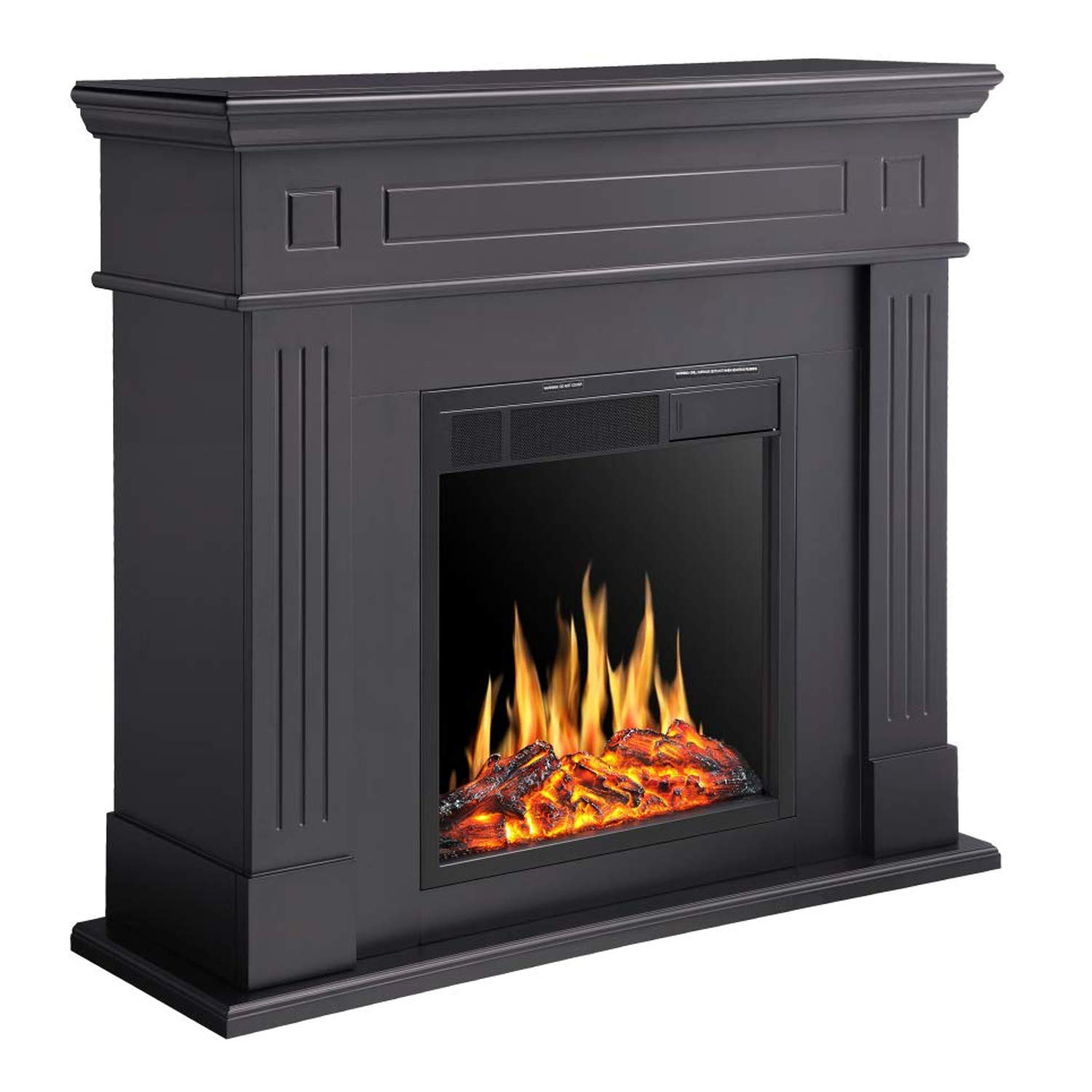 R.W.FLAME Electric Fireplace Mantel Wooden Surround Firebox, Freestanding Corner Fireplace, Home Space Heather, Adjustable Led Flame, Remote Control,750W 1500W, Black
