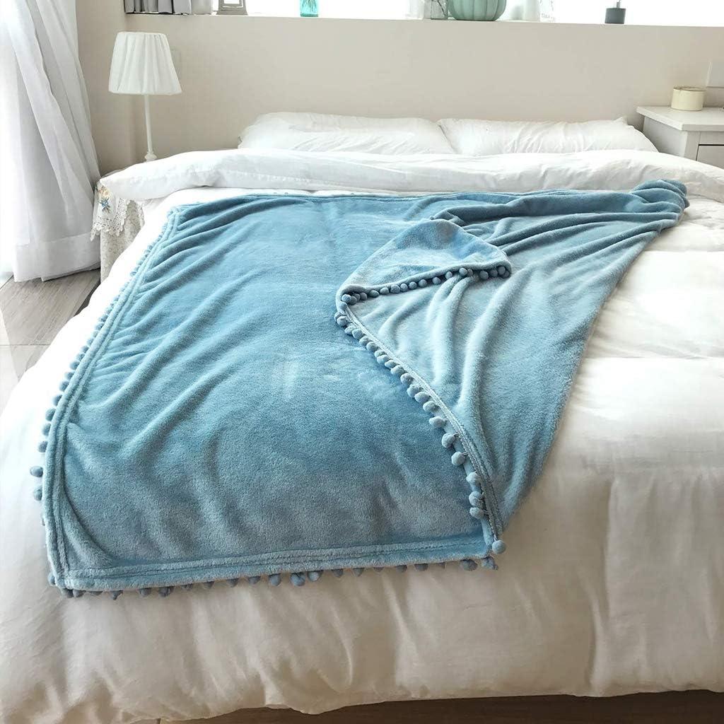 Throw Blanket Ultra Soft Fluffy Pom Pom Throw Blanket Premium Fleece Blanket Microfiber for Bedroom Living Room and Travel All Season