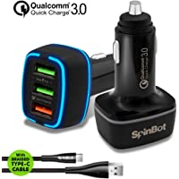 SpinBot ChargeUp 3 Ports 30W Quick Charge 3.0 Fast Car Charger + Braided Type-C USB Cable (Black)