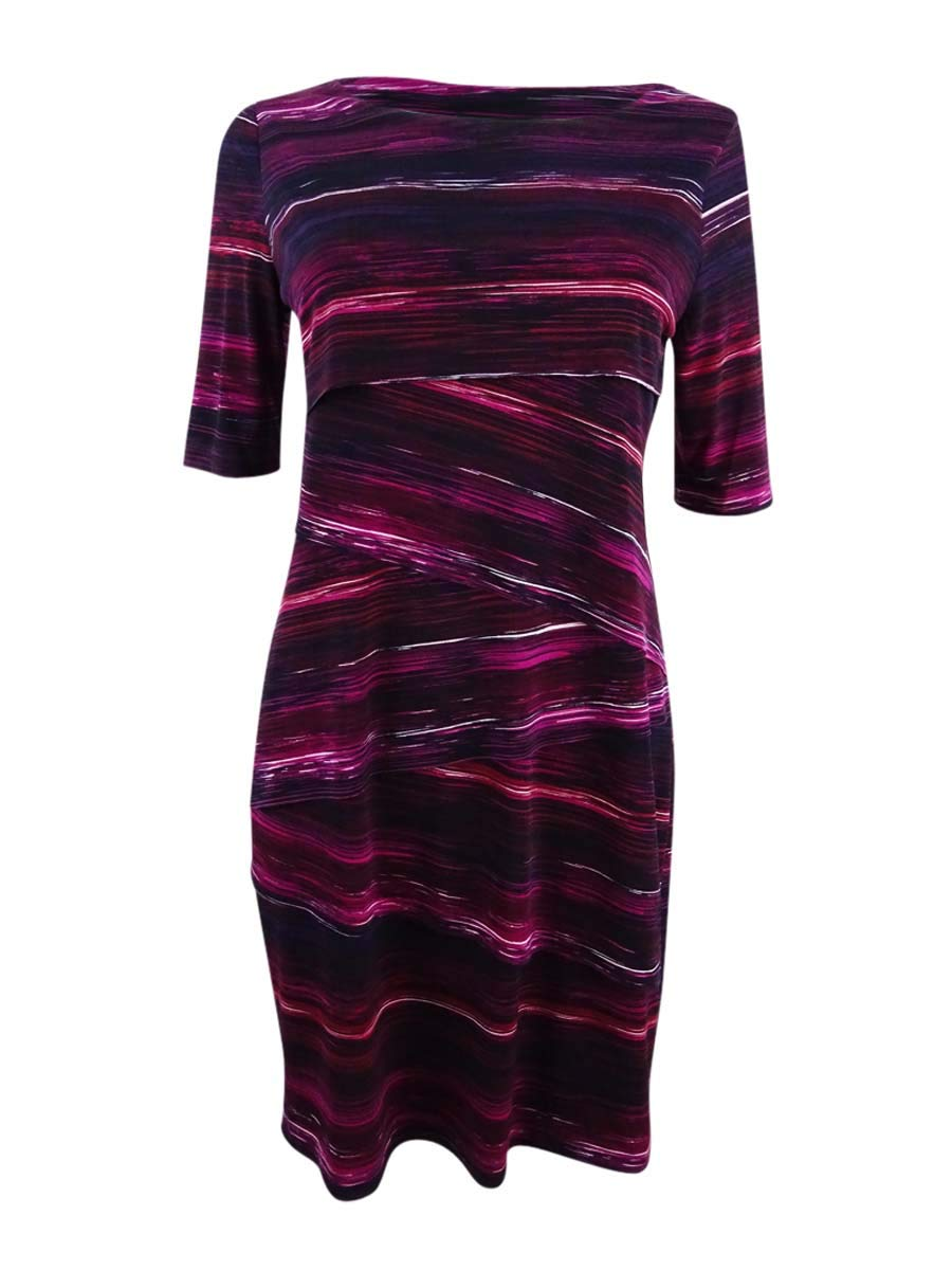Connected Women's Petite Printed Tiered Sheath Dress (4P, Wine)
