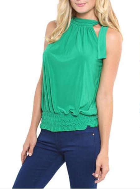 Verano Mujeres Camisolas Camisas Moda Colores Lisos Tanque Tops Pliegue Vendaje Blusa Casual Cuello Halter Camisetas