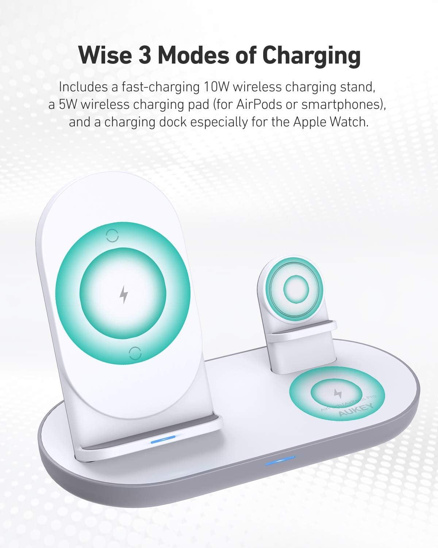 AirPods Pro iWatch Adapter Nicht enthalten Samsung AUKEY 3 in 1 kabelloser Ladeger/ät f/ür iPhone 12 4 in 1 Wireless Charger Schnell Ladestation Qi-Zertifiziert f/ür iPhone 11// X//XR