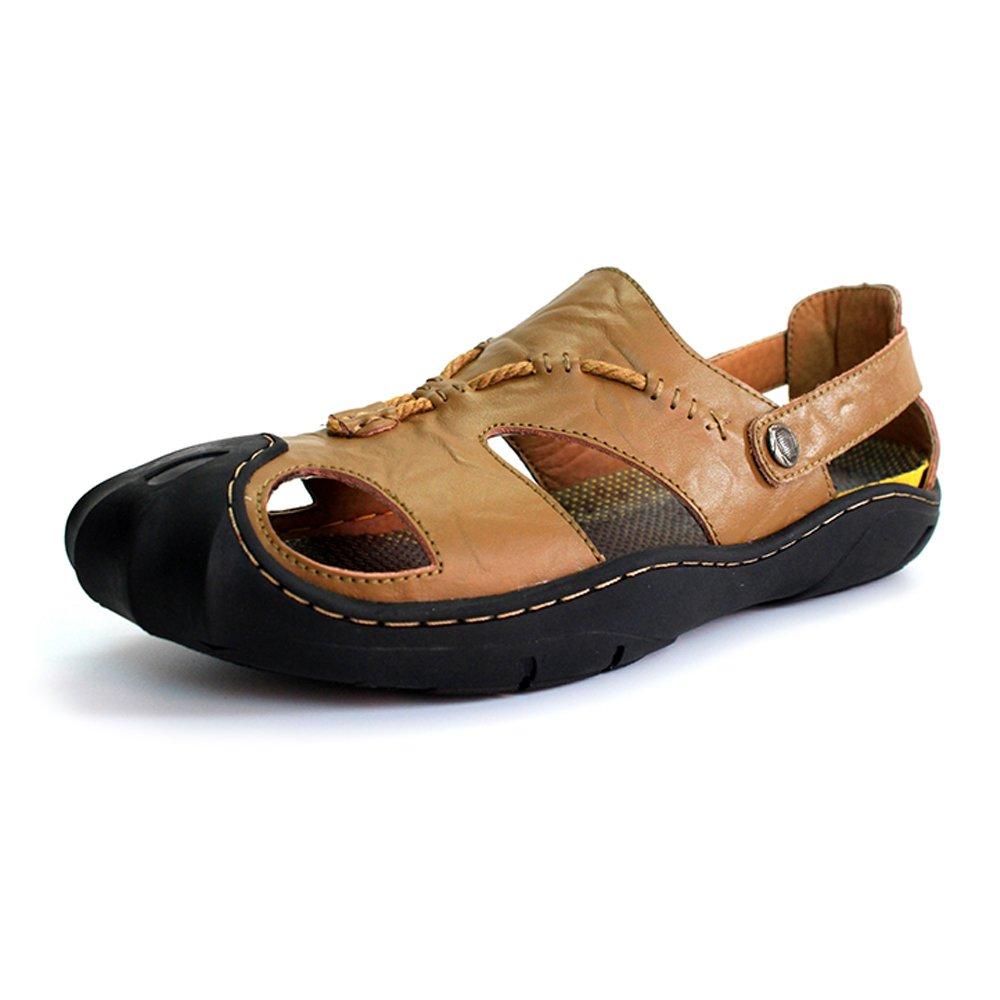 Zapatillas de Hombre de Cuero Genuino Zapatillas de Playa Sandalias Ocasionales Antideslizantes Zapatos de Punta Plana Cerrada Suave SIN Pegamento,para los Hombres 39 EU|Khaki