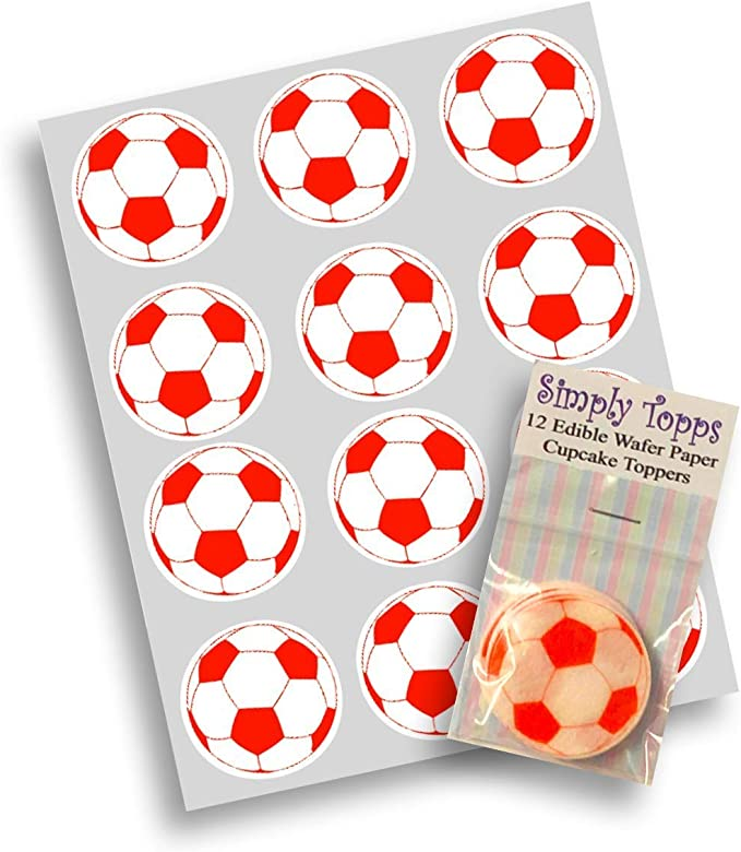 Balón de Fútbol Rojo en Papel de Arroz x 12 - 40mm para Decoración ...