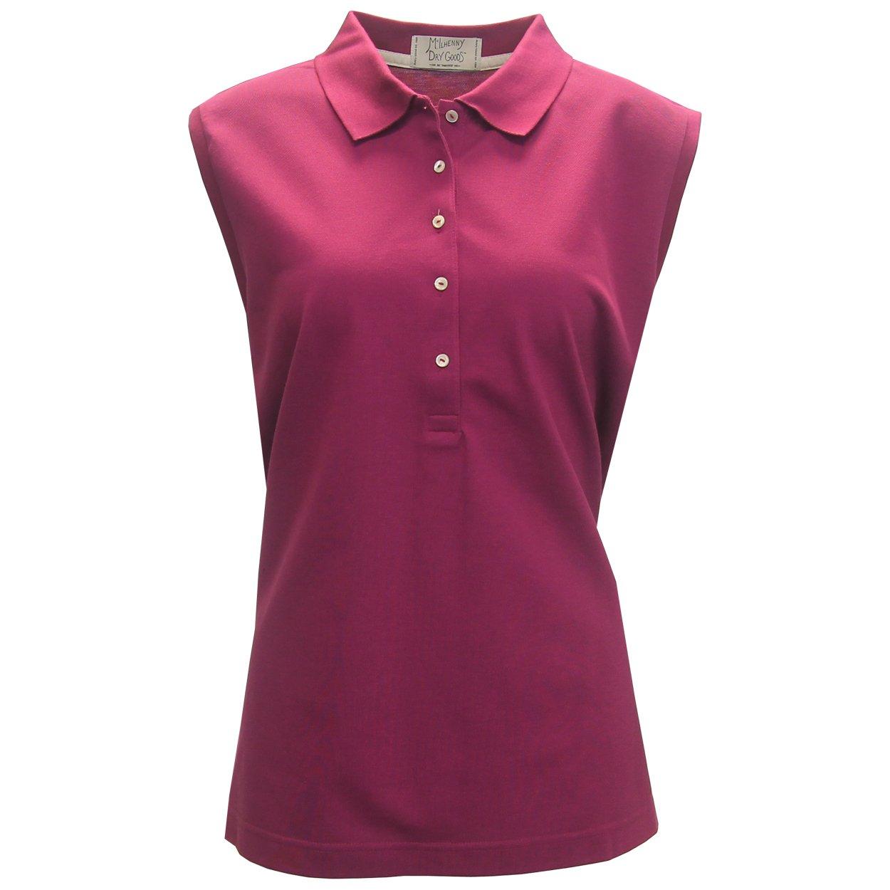 McIlhenny Women's Sleeveless Solid Pique Polo Golf Shirt, X-Large Raspberry