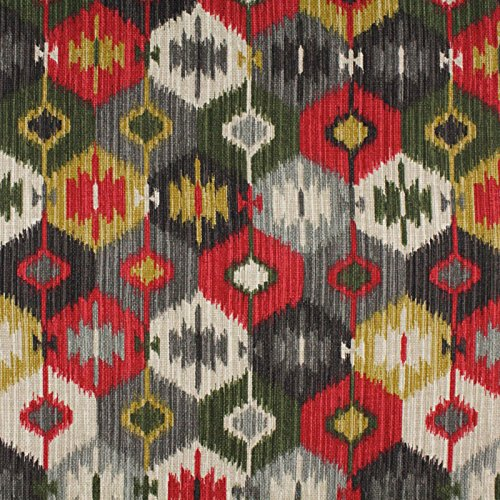 Fireworks Black Gray Red Yellow Contemporary Modern Print Upholstery Fabric by the yard - Modern Contemporary Upholstery Fabric