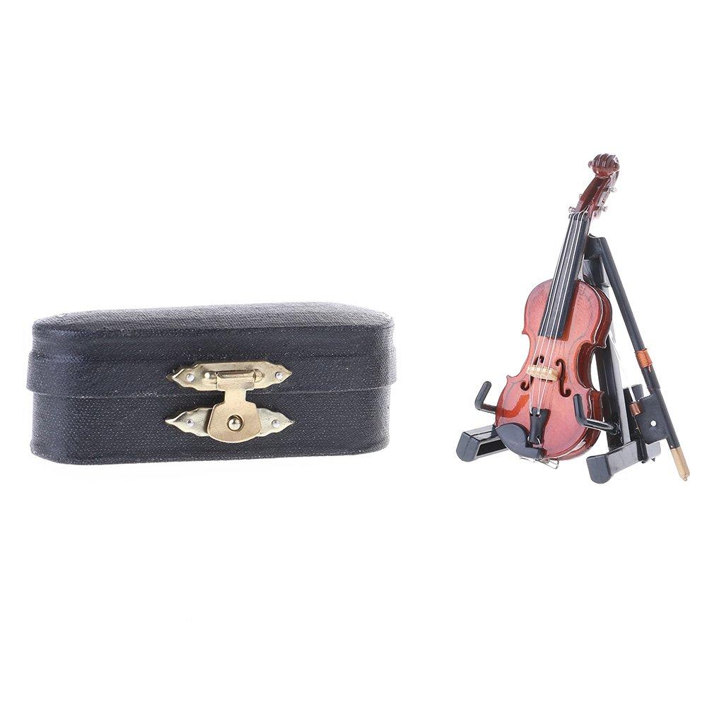 SimpleLife 7CM Mini Violino in Miniatura Strumento Musicale Modello in Legno con Supporto e Custodia
