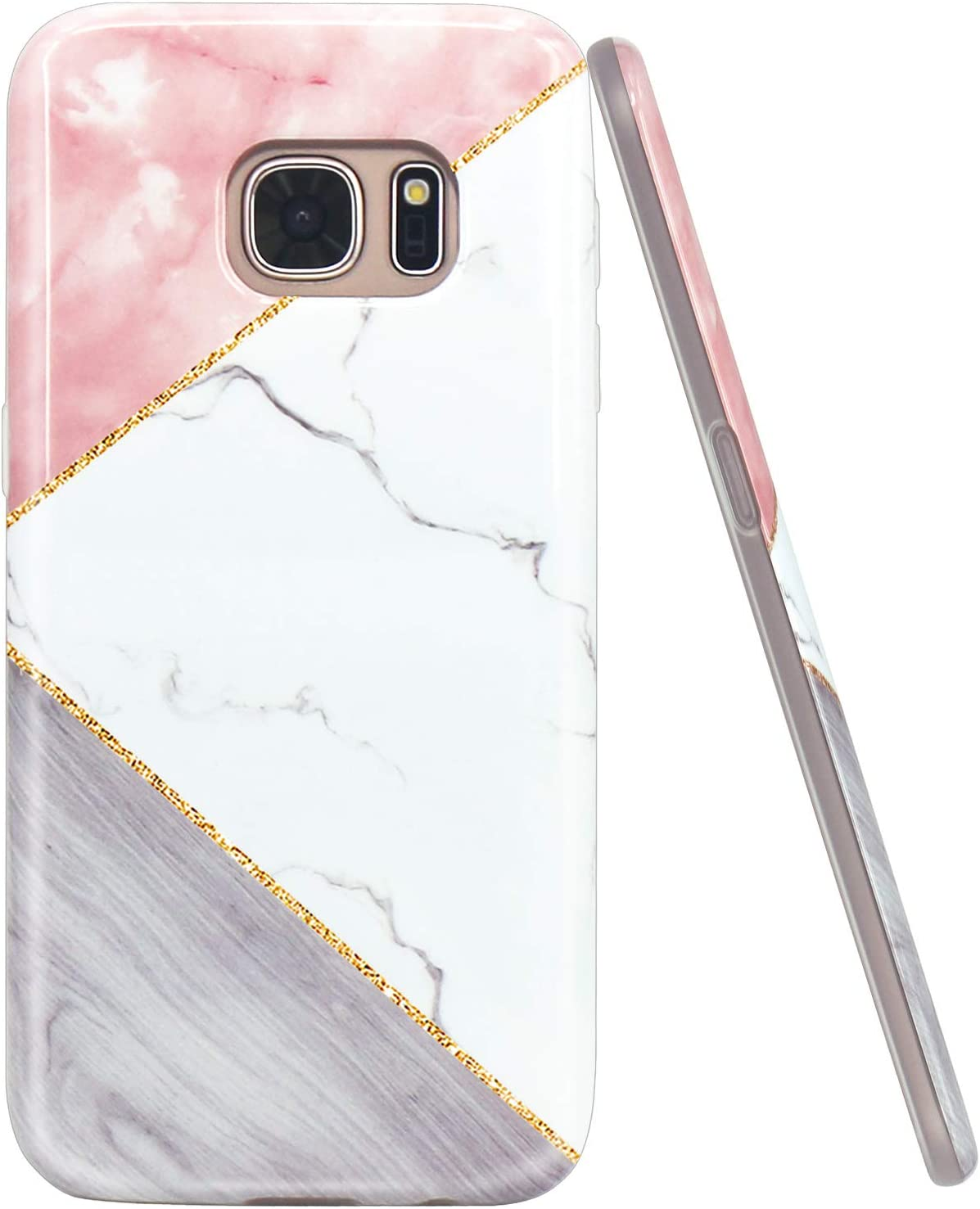 JAHOLAN Galaxy S7 Case Geometric Pink White Marble Design Slim Flexible Bumper Glossy TPU Soft Rubber Silicone Cover Phone Case for Samsung Galaxy S7