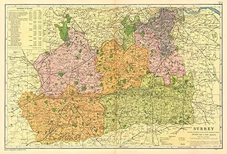 Map Of Uk Parliamentary Constituencies.Surrey County Map Parliamentary Constituencies Divisions Railways