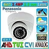 4in1 LexaCCTV 2.4MP 1080P AHD CVI TVI Analog 1/3 Panasonic Sensor 2.8mm Lens Wide Angle View Vandal Weather Water Proof Night Vision BNC Connection Outdoor CCTV