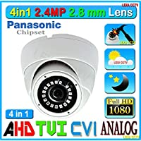 4in1 LexaCCTV 2.4MP 1080P AHD CVI TVI Analog 1/3 Panasonic Sensor 2.8mm Lens Wide Angle View Vandal Weather Water Proof Night Vision BNC Connection Outdoor CCTV