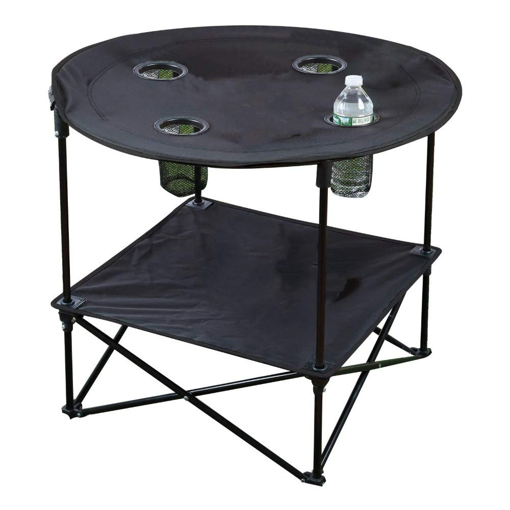 Black Portable Camping Side Table Folding Picnic Table Outdoor Travel Patio Case BBQ