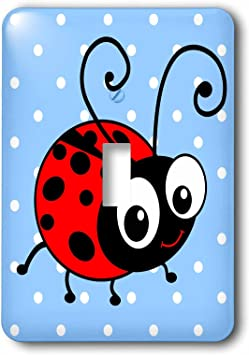 3drose Lsp 113182 1 Cute Ladybug On Blue Polka Dots Kawaii Happy Red Black Spotted Ladybird Cartoon Lady Bug Insect Single Toggle Switch Wall Plates
