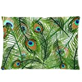 Elegant Peacock Feather Print Custom Zippered Bed Pillow Cases 20x30 (Twin sides) by go-go lucky