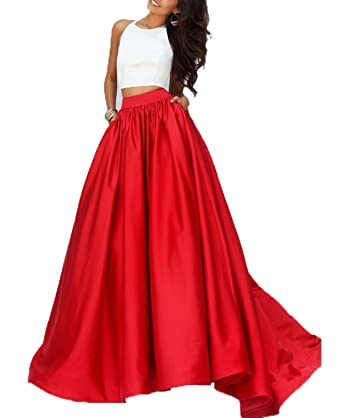 BONBETE Halter Neck A Line Long Satin Red Prom Dress Formal Evening Dress