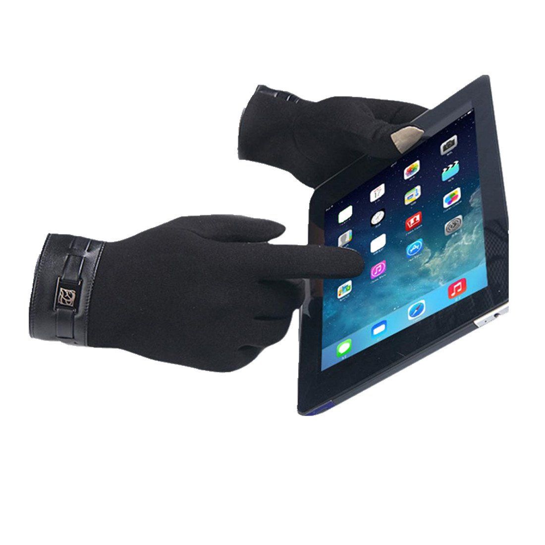 Gloves,toraway Winter Mens Full Finger Smartphone Touch Screen Cashmere Gloves (Black)