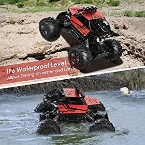 INTEY RC Cars Amphibious Remote Control Car 4WD Off Road Remote Control Trucks Comes with Batteries Included and USB Charger