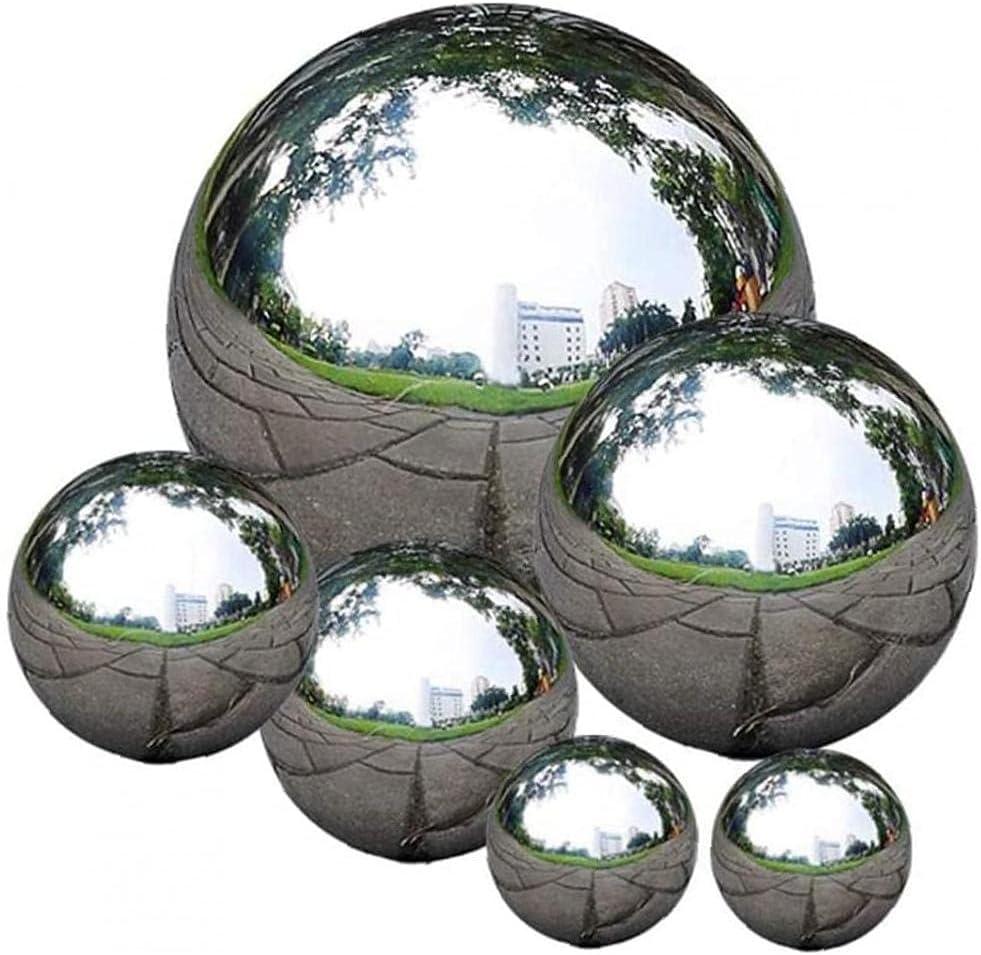 Cavit/à dellacciaio inossidabile senza saldatura sfera specchio della sfera della sfera sfera Guardando per la casa ornamenti del giardino Decor 6Pcs
