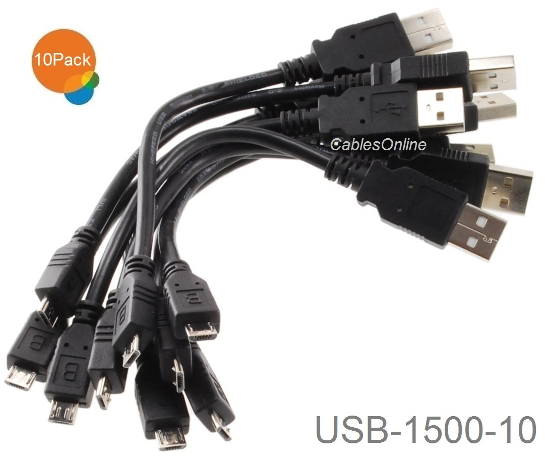 CablesOnline 10-Pack 6- inch USB 2.0 A-Type Male to Micro-B Male Charge & Sync Cable, USB-1500-10