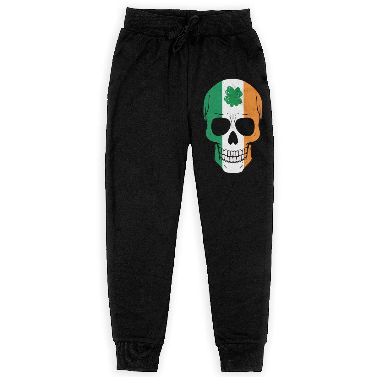 WYZVK22 Irish Skull St Patricks Day Soft//Cozy Sweatpants Boys Active Pants for Teenager Girls