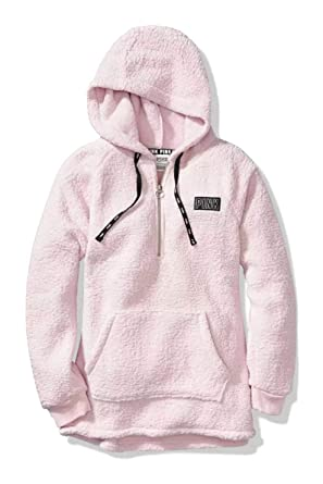 7027a005fbe7f Victoria Secret. Pink Hooded Sherpa Quarter Zip Cozy Pullover ...